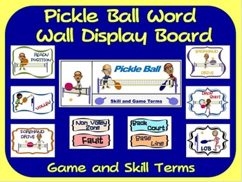 Pickle Ball Word Wall Display: Skill, Graphics & Game Terms