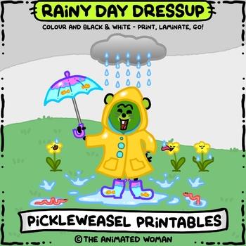 PickleWeasel PRINTABLES - Rainy Day Dressup - COLOR & B/W