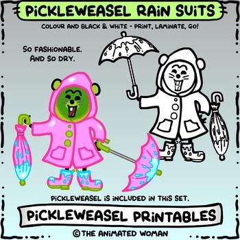 PickleWeasel PRINTABLES - Rain Dressup Bundle - COLOR & B/W