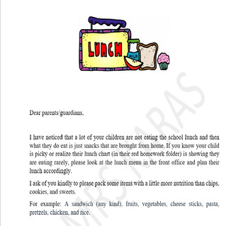 Picky Eaters Letter Home