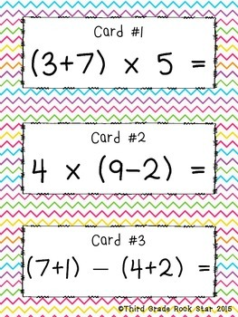 Picky Picky Parentheses ~ Problems for Beginners (Common Core Aligned)