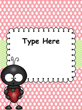 Picnic/Ant Binder Covers -Editable