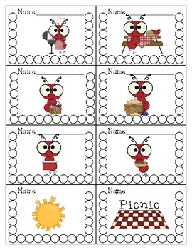 Picnic Ants Themed Punch Cards