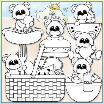 Picnic Bears Clip Art - Picnic Clip Art - Bears Clip Art - CU Clip Art & B&W
