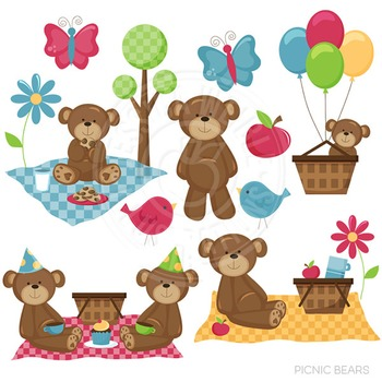 Picnic Bears Cute Digital Clipart, Bear Graphics