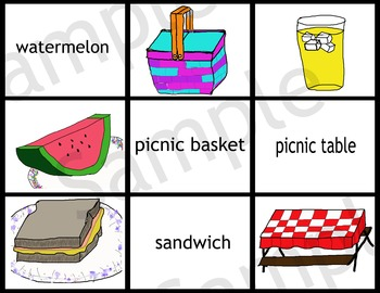 Picnic Theme Bundle: Memory Game, Flash Cards, Enlarged Cards and Word Match