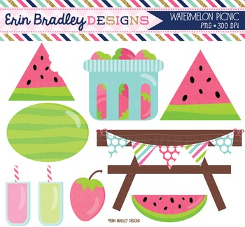 Picnic Clipart - Watermelons Strawberry Lemonade and Picnic Graphics