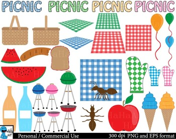 Picnic Digital Clip Art Graphics 75 images cod136