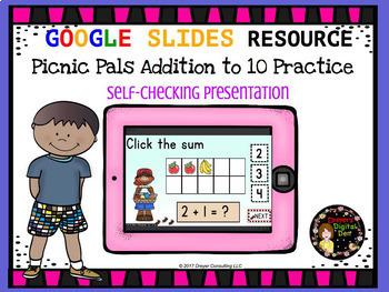 Picnic Friends Addition to 10: Google Classroom Presentation