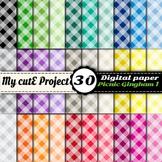 "Picnic Gingham 1 - DIGITAL PAPER - Instant Download - Scrapbooking - A4 & 12x12"""