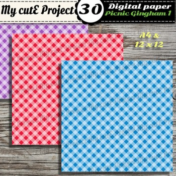 Picnic Gingham 1 - DIGITAL PAPER - Instant Download - Scrapbooking - A4 & 12x12""