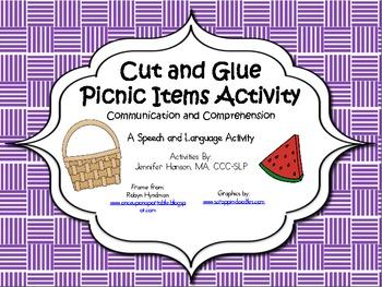 Picnic Items Cut and Paste Activity with Icons