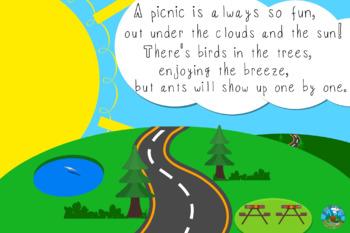 Original Picnic Limerick/Poem with Sunset Landscape Background