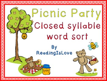 Picnic Party - A Closed Syllable Word Sort