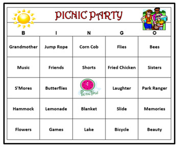 graphic about Printable Bingo Game Patterns named Picnic Occasion Bingo Sport- Summer season Pleasurable! 60 Playing cards Printable!
