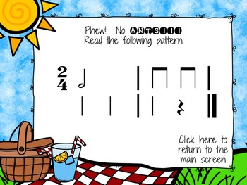 Picnic Patterns for Rhythm Practice {half note}