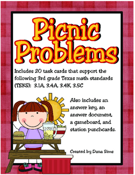Picnic Problems: 3rd Grade Multi-Step Problems Involving All Four Operations