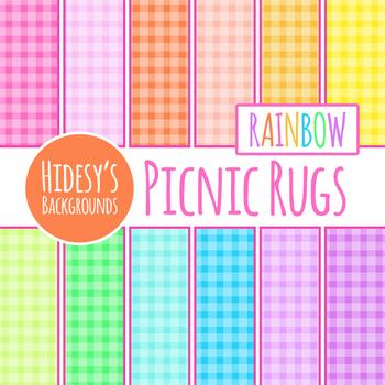 Picnic Rug / Gingham / Plaid Rainbow Backgrounds / Digital Papers Clip Art Set