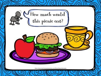 Picnic Scoot! Adding Money with 4 different Levels of Menus (Price Lists)