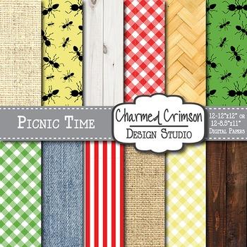 Picnic Texture Gingham Digital Paper 1486