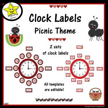 Picnic Theme Editable Clock Labels