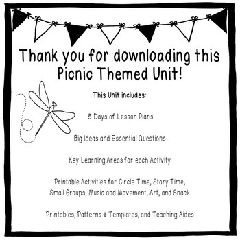 Picnic Unit for Preschoolers and Kindergarteners