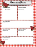 Picnic, Watermelon, Red Gingham Newsletter For Word
