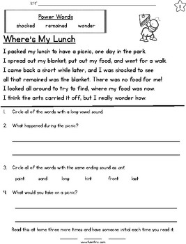 Picnic Week Long Fluency Packet