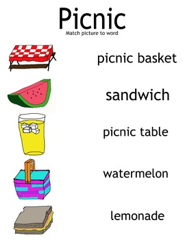 Picnic Theme Word Match