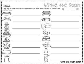 Picnic Write the Room -16 cards four versions, four recording sheets