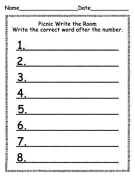Picnic Write the Room Activity