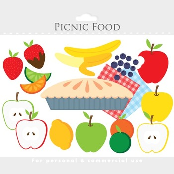 Picnic fruit clipart - food clip art, apple pie, banana, strawberry, lemon