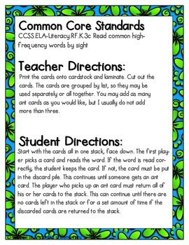 Picnic in the Park Sight Words! Second Grade List Pack