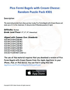 Pico Fermi Bagels with Cream Cheese: Random Puzzle Pack #301