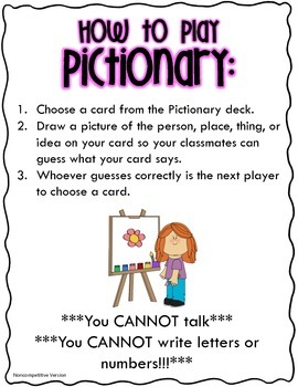 Pictionary Cards and Directions