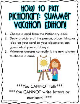 Pictionary: Summer Vacation Edition!