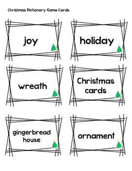 Pictionary Winter/Christmas Game Cards