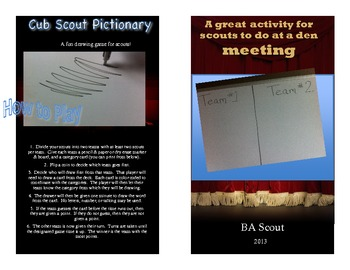 Pictionary for Cub Scouts