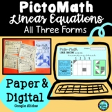 Linear Equations (All 3 Forms) Pictomath Activity | PAPER