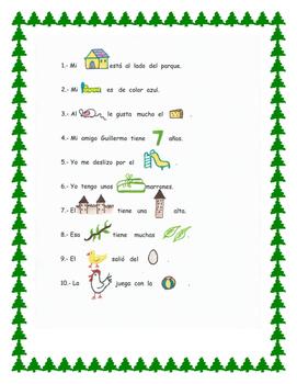 En español.Pictograma palabras variadas. Rebus sentences