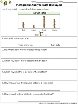Pictographs: Analyze Data Displayed on a Graph Practice Sheets - King Virtue