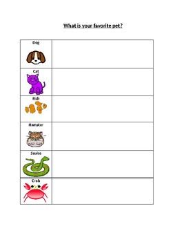 Pictograph Data Sheets - Favorite Animal