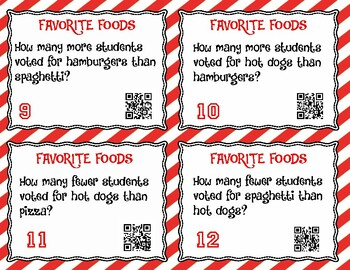 Pictograph Task Cards with QR Codes- Set 1