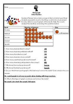 Pictograph and Tally Table Practice Worksheets