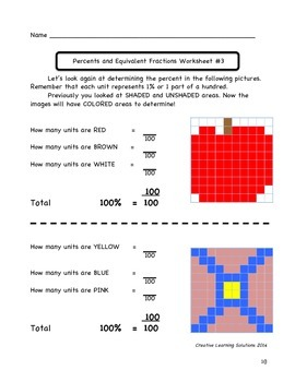 Pictorial Percents and Equivalent Fractions: Middle School Math Lesson