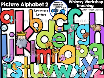Picture Alphabet  2 (lowercase) Clip Art - Whimsy Workshop
