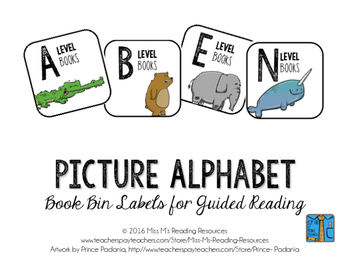 Book Bin Labels {Picture Alphabet}