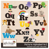 Picture Alphabet Clipart/Printable/Cutting File Set A-M-PP