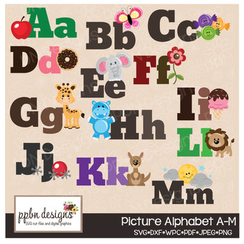 Picture Alphabet Clipart/Printable/Cutting File Set N-Z-PPbN Designs