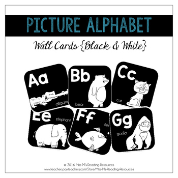 Black & White Alphabet Cards--Line and Word Wall Headers {